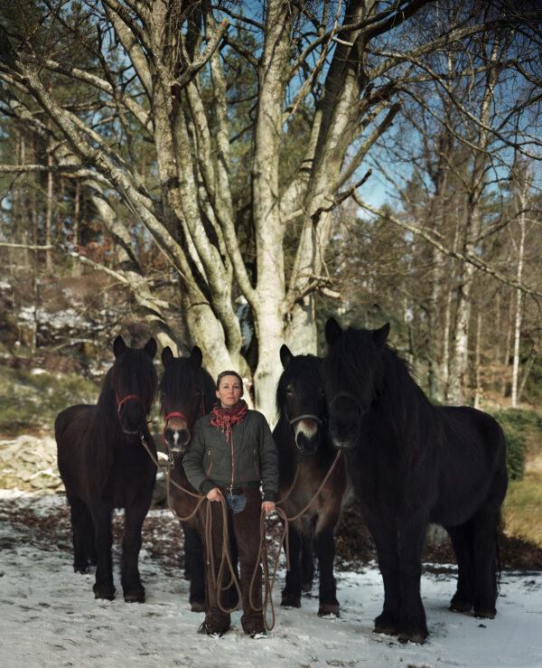 Pia och hästar framför träd